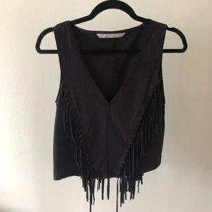 Zara Black Suede Fringe Top